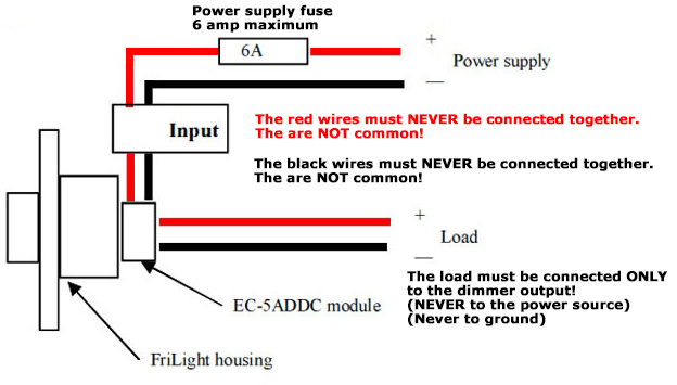 ef1206 12 volt led dimmer switch - 5 amps max, rotary on-off, Wiring diagram
