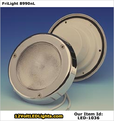 FriLight 8990 Targa Flat 12 Volt LED Courtesy Light (10-30vdc). Plastic IP 64 Water Resistant Recessed Light with Plastic Lens. Choose 190 Lumen Cool White, 187 Lumen Warm White, Red, Blue, Bi-Color LEDs. Chrome or White