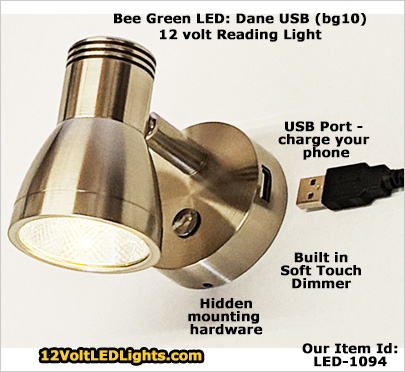 Dane Dimmable 12 Volt Led Reading Light With Usb Port To