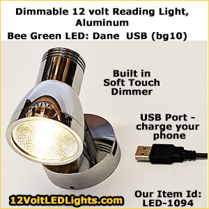 Dane USB 12 Volt LED Reading Light with Dimmer and USB Port. Aluminum Fixture and Shade includes Warm White LED