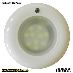 FriLight 8777 Nova LED Dome Light with Toggle SWITCH, 12 volt/24 Volt(10-30vdc). Recess Mount. Options: soft Warm White 3 Way LED, bright Cool White LED, soft Warm White LED, Red, Blue, or Bi-Color LEDs. 6 bezel colors. Optional Spring Mount Clips.