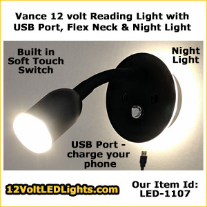 Phone charging USB Vance 8102 12 Volt LED Reading Light for Boat / RV / 12 Volt dc applications, with Goose-neck and Night Light.