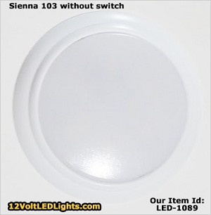 Sienna 103 is a 3 inch surface mount 12 volt LED Puck Light, shown without switch