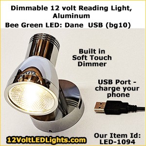 Bee Green LED: 12 Volt dimmable LED Reading Light Devon Metal